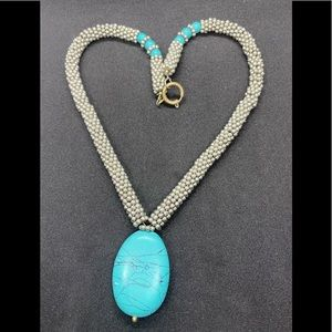Jewelry - Cute!! Silver Tone Large Turquoise Pendant